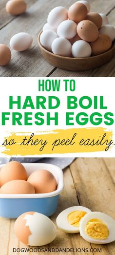 Those farm fresh eggs are great but they sure can be a pain to peel. This tutorial will show you how to hard boil eggs in the instant pot or on the stove plus tips on how to peel the eggs. #dogwoodsanddandelions #eggs #homesteading #chickens