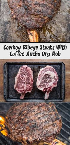 Reverse Sear Cowboy Ribeye Steak with a delicious coffee ancho dry rub is a steak to impress guests & feed a crowd. Learn the best way to cook this thick cut steak. Slow Cooker Meat Recipes, Ground Meat Recipes, Healthy Meat Recipes, Smoked Meat Recipes, Cowboy Ribeye, Perfect Roast Potatoes, Dry Rub Recipes, Roasted Meat, Feeding A Crowd