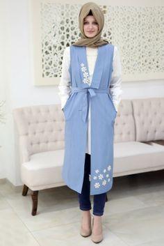 Som Fashion Mavi Kot Tesettür Yelek