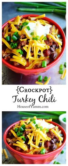 This crockpot Turkey Chili is so thick and hearty and bursting with flavor. Perfect for cuddling up with on a chilly day.