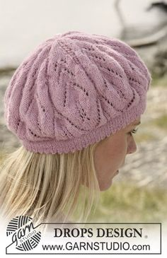 """DROPS 108-3 - DROPS Basque hat with lace pattern in """"Alpaca"""". - Free pattern by DROPS Design"""