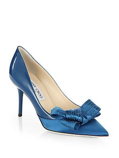 Jimmy Choo Fitz Patent Leather & Satin Bow Pumps