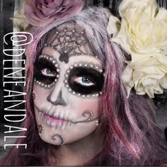 Sugar skull makeup. I love the pearls around her eyes and the softer white (vs the very opaque I've done in the past)