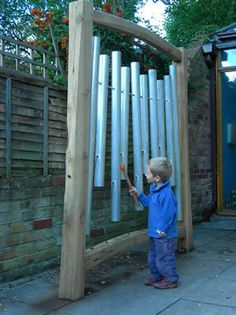 Outdoor Musical Instruments --- DIY This One, Go To Hardware Store By Metal Pipes, Then Create Different Sizes, Drill Holes, Hang - Music Garden, Garden Art, Outdoor Play Spaces, Outdoor Fun, Music Instruments Diy, Backyard Playground, Playground Design, Playground Ideas, Sensory Garden
