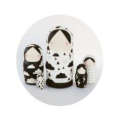 Black and White Nesting Dolls Matryoshka - Weather Girls