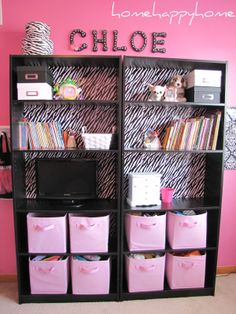 bookshelf redo - Google Search Different colours, but storage idea