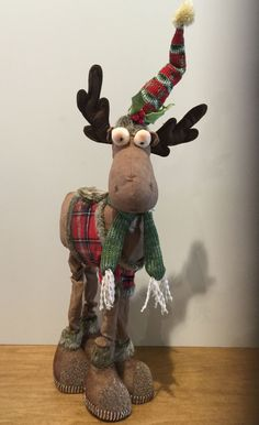"Plaid Plush Holiday Moose 20"" Tall"