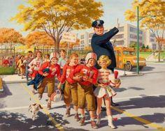 ART FRAHM (American, Safety Wins, calendar illustration, 1961 Oil on board x 30 in. Vintage Pictures, Vintage Images, Vintage Prints, Vintage Posters, Vintage Artwork, Pin Up, Vintage Illustration Art, Vintage Housewife, Vintage School