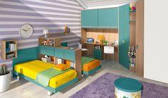 Kinderzimmer für Jungen mit Raumteiler eingerichtet