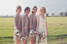 Very 1920's influenced bridesmaid dresses - Steph and Russell, Farbridge Barn Sussex Wedding, photography by Lisa Devlin