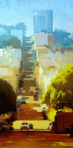 Up Hill by DAVID CHEIFETZ good inspiration for some accomplish-able artwork -- love the painting style Urban Landscape, Landscape Art, Landscape Paintings, Art Paintings, Art And Illustration, Illustrations, City Art, Oeuvre D'art, Love Art