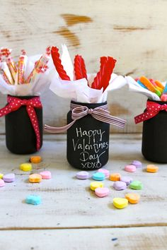 Paint mason jars with chalkboard paint.  Write message with chalk.  Fill with goodies:)