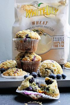 Perfect Blueberry Streusel Muffins Recipe- Deliciously moist, light and juicy blueberry muffins with a sensational crumbly streusel topping.  Recipe Via: @grandbabycakes