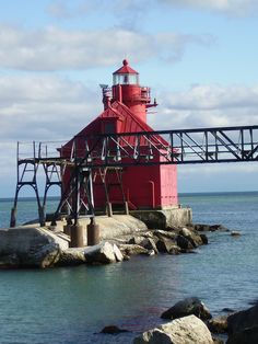 Sturgeon Bay Ship Canal North Pierhead Light  The original pier head light was first lit in 1882, in 1903, the current structure was built combining the light tower and fog signal into one building. An active mavigational aid, this lighthouse may be seen from Sturgeon Bay Canal Park, immediately to the south of the canal.