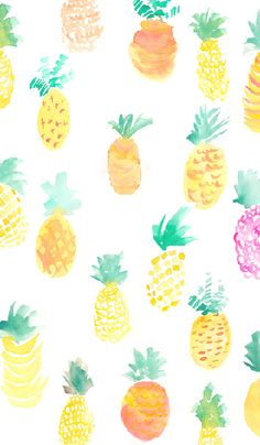 Watercolor Pineapples ★ Find more fruity Android + iPhone wallpapers @prettywallpaper