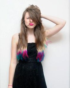 Brown hair but white, pink and blue hair ends. It seems like indian culture. #hair #mermaidhair