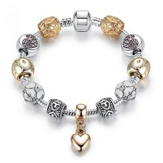 Looking for a unique gift with a touch of love? Get this Crystal Love Heart Charm Bracelet! This silver and gold colored bracelet is perfect for valentines day, birthday and anniversary. Most suited for young adults and adults who loves and appreciate jewelry.