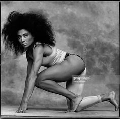 American track and field star, Florence Griffith Joyner, photographed...