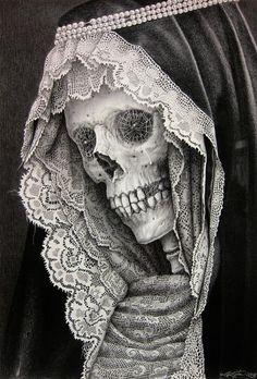 santa muerte drawing by Laurie Lipton Art Harley Davidson, Gouts Et Couleurs, Totenkopf Tattoos, Bild Tattoos, Lipton, Arte Horror, Grim Reaper, Memento Mori, Skull And Bones