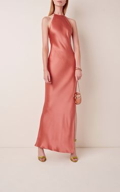 Shop Open-Back Satin Column Gown. Brandon Maxwell's sultry satin column gown ensures that you'll be RSVP-ready with its alluring open-back detail. Satin Dresses, Silk Dress, Dress Outfits, Fashion Outfits, Party Outfits, Skirt And Top Set, Column Dress, Beautiful Dresses, Pretty Dresses