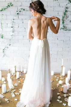Dreamy low back Cleo and Clementine wedding dress | Image by Ashley Rae