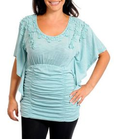Prices reduced! Flutter Sleeve Top Blue - this site for sizes 14+ only!