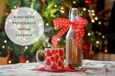 Homemade Peppermint Mocha Creamer - all natural, none of that high fructose corn syrup garbage! :) Perfect for a gift or to keep for yourself!