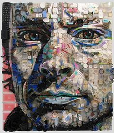 The artworks are made entirely out of collected junk, found objects, and general trash.