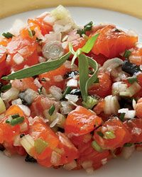 Salmon Trout Tartare with Pressed Caviar and Tomatoes // More Healthy Fish Recipes: http://fandw.me/7DR #foodandwine