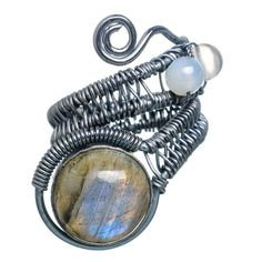 Large Labradorite, Rainbow Moonstone Oxidized 925 Sterling Silver Ring Size 8 Adjustable RING766208