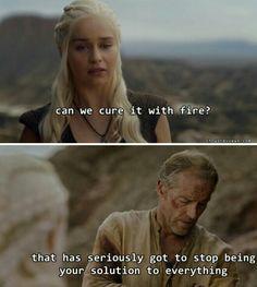 Daenerys Targaryen and Jorah Mormont lol || I could totally see Daenerys thinking in that direction HAUHSUHAUHS