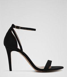 Reiss MALVA Ankle Strap High Heeled Sandals. Black ...