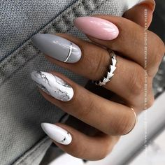 Bling Acrylic Nails, Rounded Acrylic Nails, Coffin Nails Ombre, Classy Acrylic Nails, Almond Acrylic Nails, Summer Acrylic Nails, Classy Nails, Shellac Nails, Rhinestone Nails