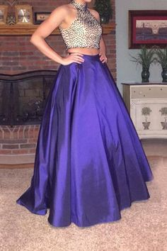 Elegant Purple Two Piece Prom Dresses Satin Evening Gowns With Rhinestones Beaded Bodice And Halter Neckline