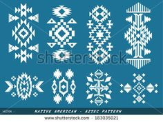 Native American - Azted vector pattern on blueboard - stock vector