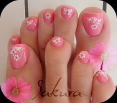 25 New Ideas For Flower Pedicure Designs Toenails Pink Toes Pink Toe Nails, Pretty Toe Nails, Cute Toe Nails, My Nails, Pink Toes, Flower Pedicure Designs, Toenail Art Designs, Toe Designs, Pedicure Nail Art