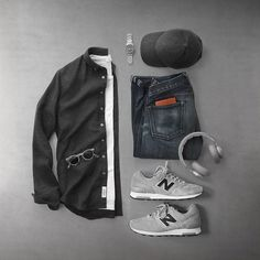 Flannels and sneakers, relaxing all day. Shirt: Charcoal Heather Twill Flannel Shoes: X 1400 Made in USA Watch: Seaview Auto Headphones: Cenere Grey T-Shirt: Sunglasses: Gregory Peck Hat: Cashmere Denim: RRL Casual Outfits, Men Casual, Fashion Outfits, Fashion Clothes, Casual Styles, Men Clothes, Casual Chic, Outfit Grid, Mode Masculine