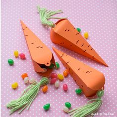 Hand out goodies to your favorite little ones on Easter with these adorable DIY carrot treat cones. Find our ideas for building them into an Easter basket!