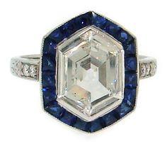 Art Deco Hexagon Rose Cut Diamond, Sapphire & Platinum Ring image 2