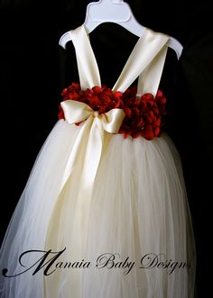 Flower+Girl+Tutu+Dress+/+Red+and+Ivory+Flower+by+ManaiaBabyDesigns
