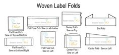 Custom Woven Label Folds, custom woven labels, personalized labels, custom labels, personalized woven labels, fabric labels, custom fabric labels, personalized fabric labels, Flat labels, End fold labels,  Center Fold labels, sewing labels, labels to sew into seam, customized labels