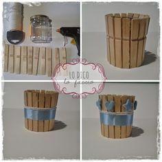 Barattolo riciclato usando mollette di legno