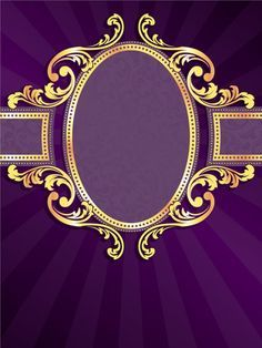 Golden frame with purple background vector 02