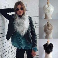 Wish   Fashion Women Faux Fur Collar Scarf Shawl Wrap Neck Warmer Lady Cape Accessories