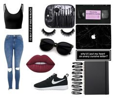 """// Black //"" by karolinabieber-1 ❤ liked on Polyvore featuring Doublju, Topshop, Muji, Lime Crime and NIKE"