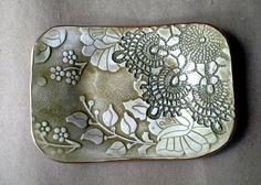 Ceramic Trinket Dish  sage green edged in gold by dgordon on Etsy