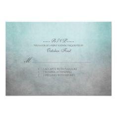 Rustic Teal and Grey Bohemian Wedding RSVP Custom Invitations