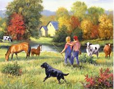 kids on the farm prints - Saferbrowser Yahoo Image Search Results Farm Paintings, Animal Paintings, Arte Country, Country Life, Farm Kids, Farm Art, Country Scenes, Vintage Farm, Naive Art