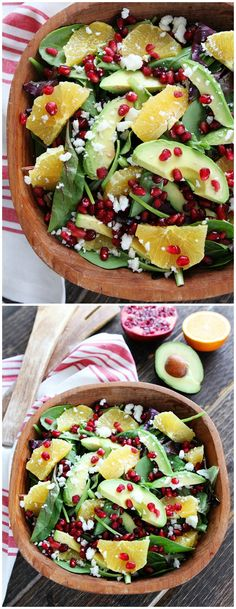 Pomegranate, Orange, and Avocado Salad Recipe on twopeasandtheirpod.com This simple, fresh, and healthy goes great with any meal!