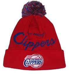 ad010ad9579 Los Angeles Clippers NBA Mitchell Ness TS349 Jacquard Banner Cuffed Ball  Top Knit Beanie Hat -